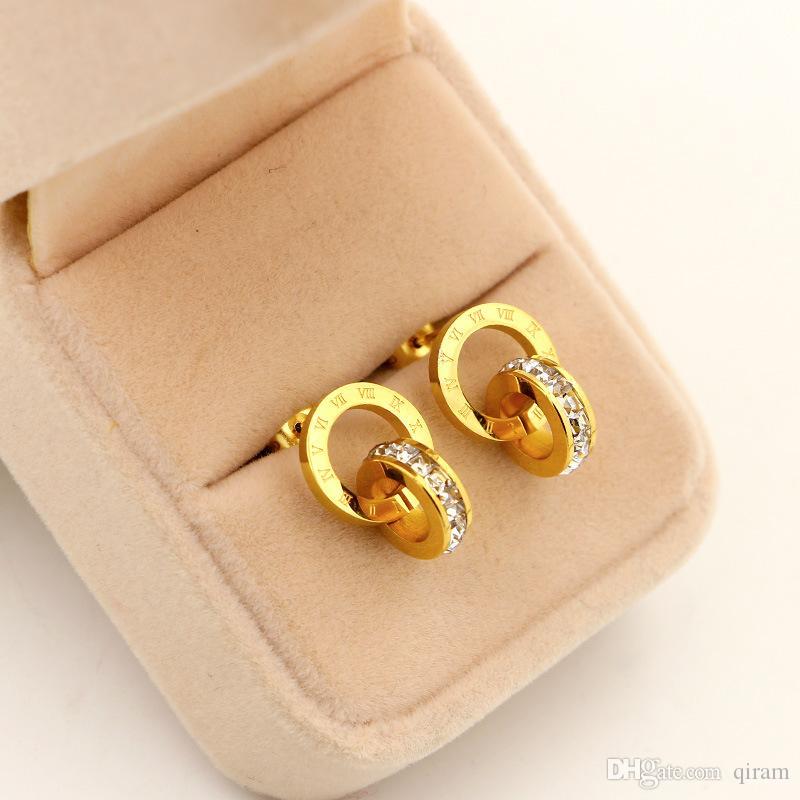 Heißer verkauf mode marke titanium stahl kleinen quadratischen diamanten römischen ohrring schmuck 18 karat vergoldet silber / rose farbe für frau geschenk
