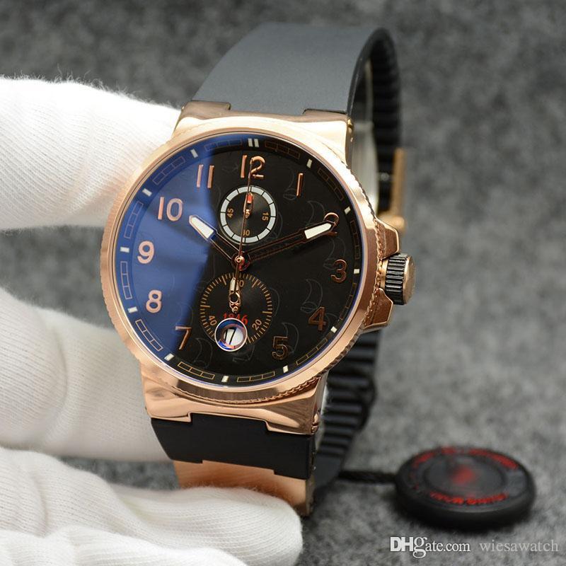 Dial Atacado elegante e nobre Men Watch Chronometer Dual Time Quartz Caso Ouro Preto externas de pulso Mens Relógios