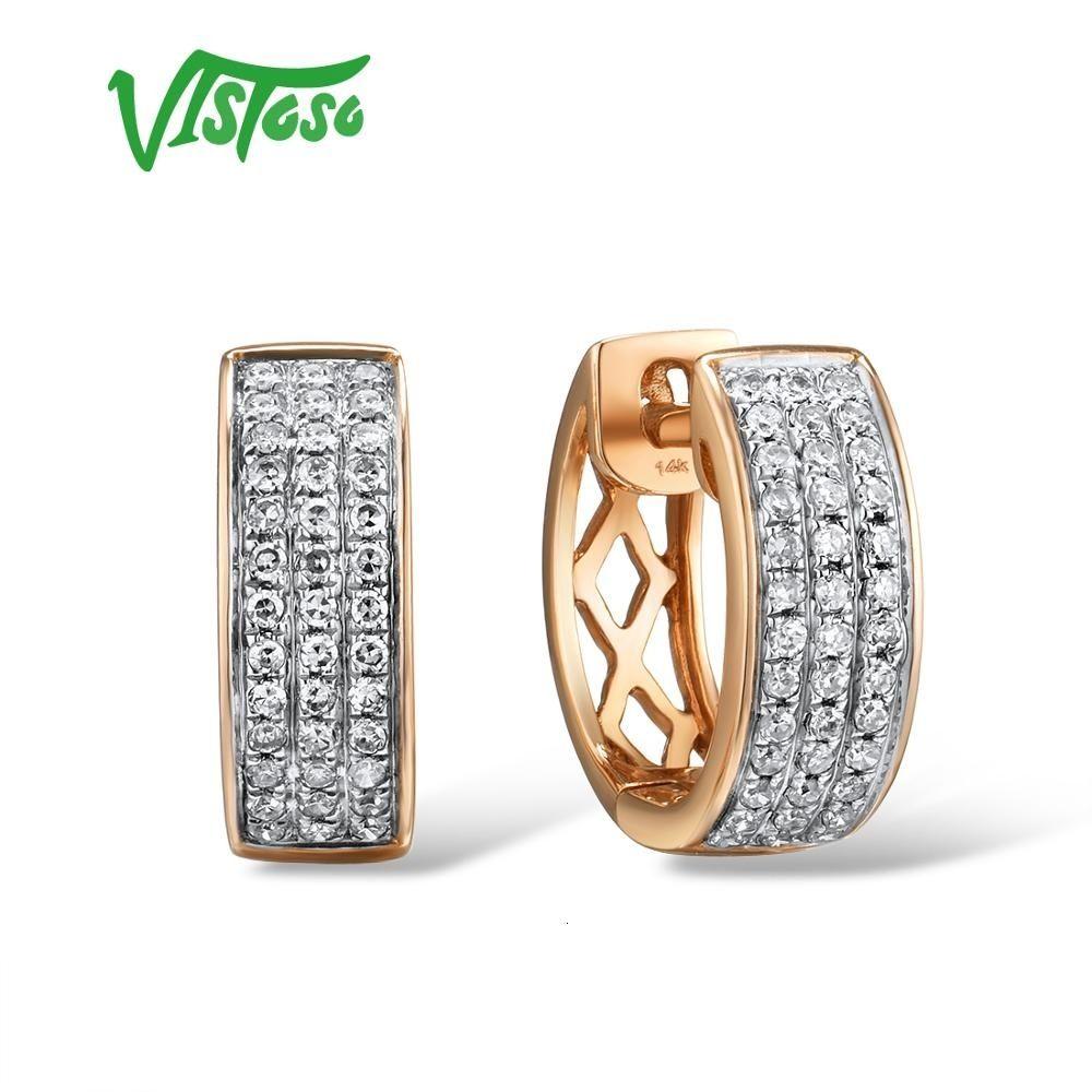 Vistoso 14K 585 Pendientes de oro rosa para señora atractiva elegante de la boda de lujo pendientes de diamantes de compromiso chispeante fina joyería CJ191203