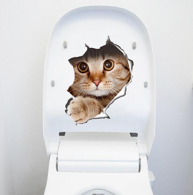 Gatos pared 3D Etiqueta Aseo etiquetas Agujero Ver Perros Vivid Baño Casa Deoom pared Deocration perro del refrigerador del gato de dibujos animados pegatinas pegatinas aseo