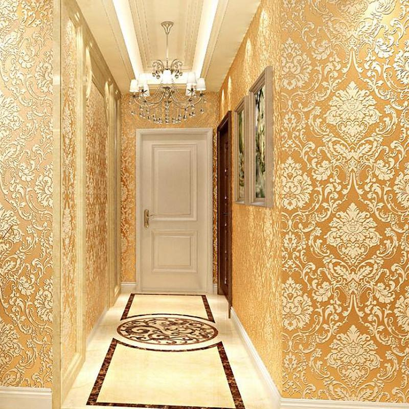 Oturma odası Home Decor İçin Modern Damask duvar kağıdı Duvar Kağıdı Kabartmalı Dokulu 3D Duvar Kaplama