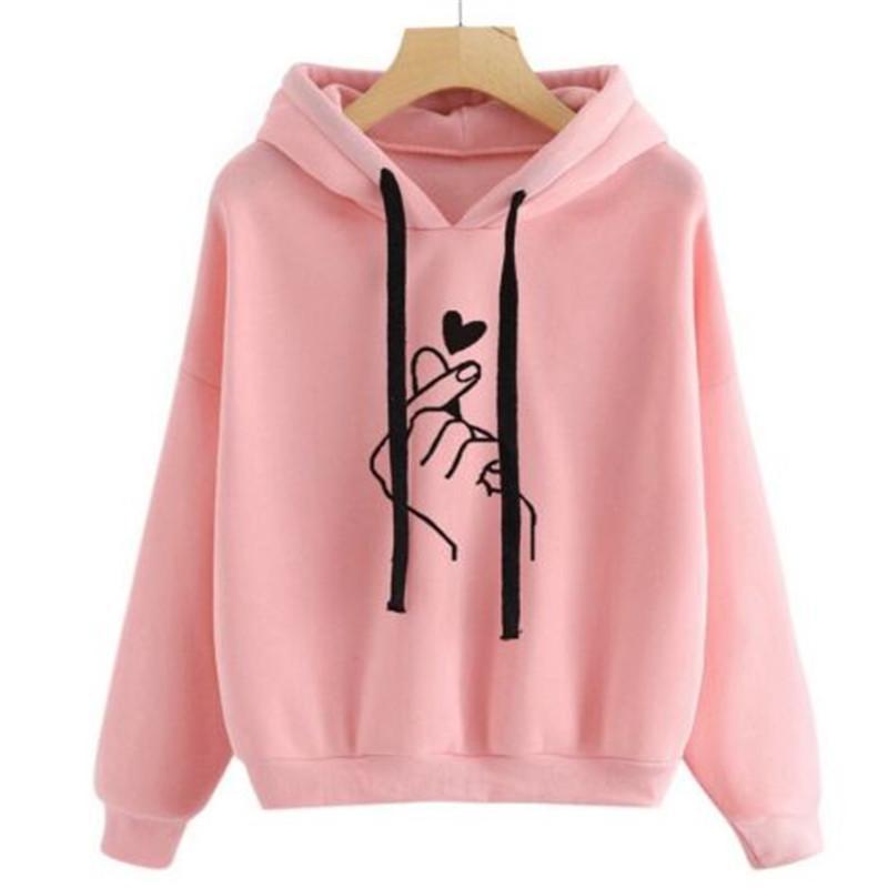 Harajuku Unisex Hoodies Sweatshirt Pullover Tops Herbst-Winter-Damen Herren Unisex Herz druckte mit Kapuze lässig mit langen Ärmeln Mantel
