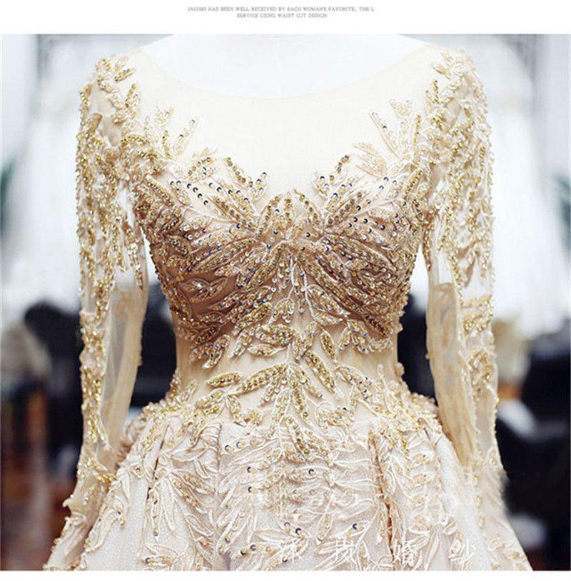 Mingli Tengda Luxury Sheer Neck 3/4 Ärmel Brautkleid Vintage Applikationen Perlen Ballkleider Brautkleider vestido de noiva 2019