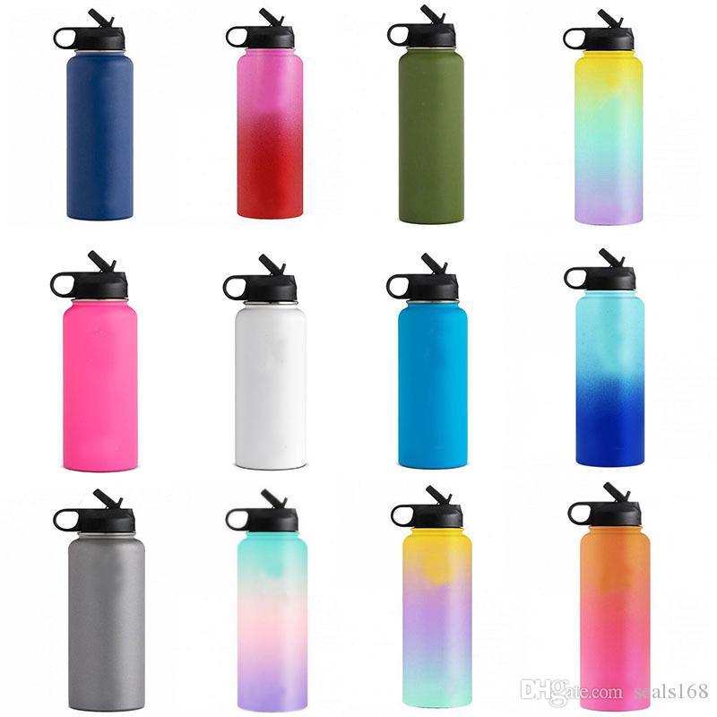 32 Unzen 40 Unzen Vakuum-Wasserflaschen isolierter Edelstahl Tumbler Wasserflasche Weithals-Reise-Becher Cup Straw Cap Cup 13 Farbe HH7-1350