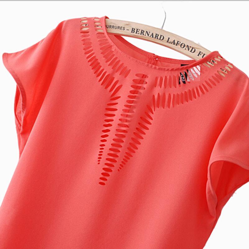 2019 Yeni Casual Üst şifon Tees Bluz moda Sıcak satış kadın gömlek içi boş lazer oyma yaz elbise