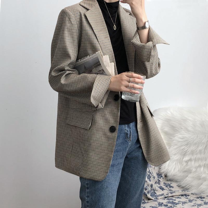 Giacca a quadri monopetto Donne Classic Blazer intaglio collare dell'annata vestiti femminili di moda casual zampa di gallina OfficeLady Coat