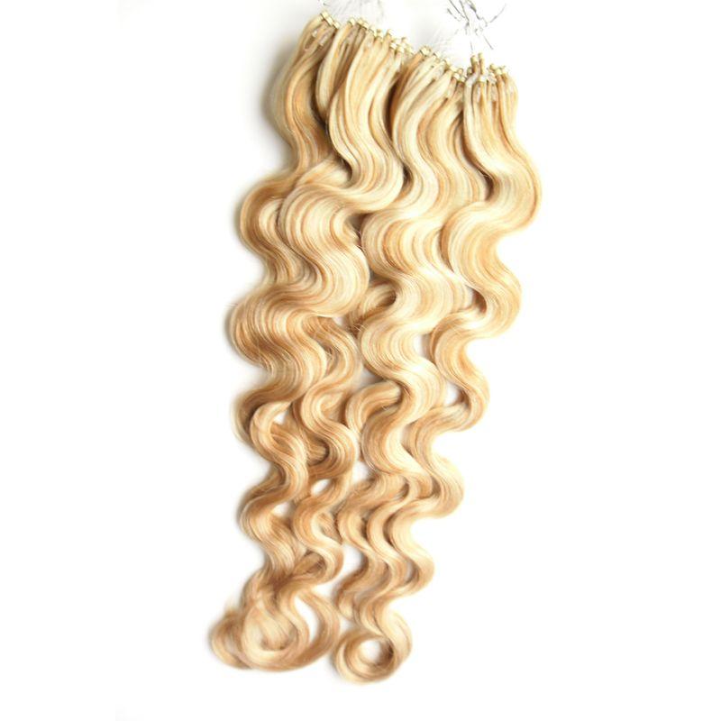 Extensão do cabelo humano de Extensões do cabelo do laço do WaveMicro do corpo com as costas coloridas dos anéis 1g / fio extensões do cabelo do anel de 200g micro
