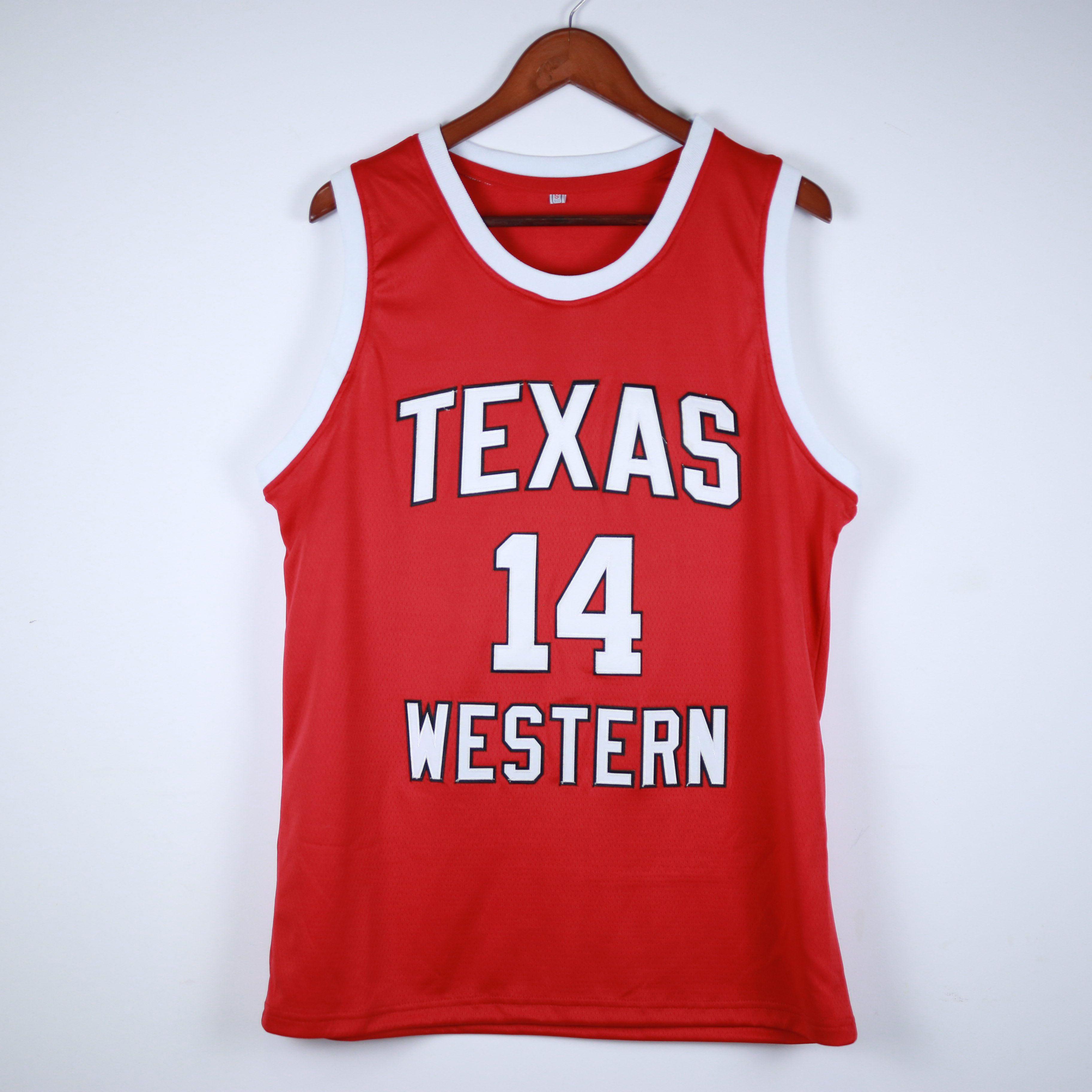 Vrais images gloire route Bobby Joe Hill # 14 Texas Western College rouge rétro maillot de basketball masculin coutume sur mesure tous les noms de noms de numéros
