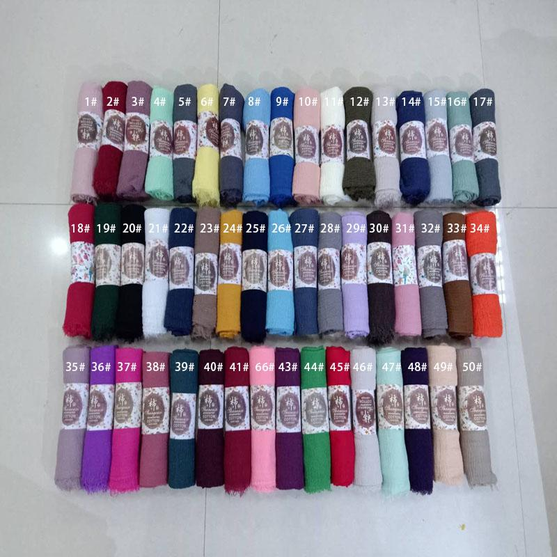 84 color Crinkled hijab Wrinkle scarf Bubble cotton viscose scarf Crinkle Plain Shawl muslim Head Hijab Scarf bandana 10pcs/lot MX191022