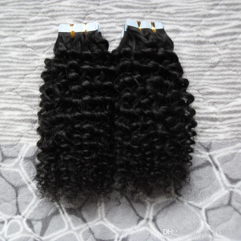 머리 연장 100 % 사람의 모발 100G 40PCS 레미 유럽 Natura 머리 테이프에있는 꼬인 곱슬 테이프