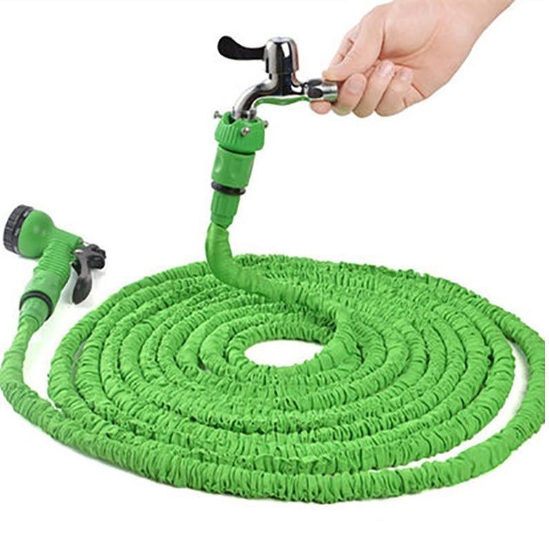 2020 hot 25FT expandable magic elastic garden hose for car hose, plastic hose and spray gun green watering