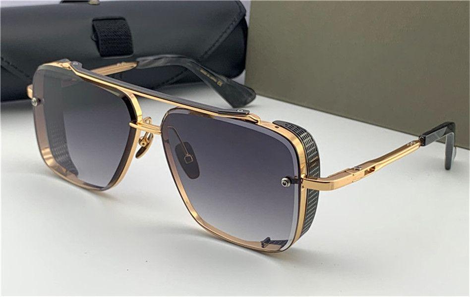 Nuevas gafas de sol populares TOP edición limitada a seis hombres de diseño K de oro retro lente de cristal de corte cuadrado con marco desmontable rejilla