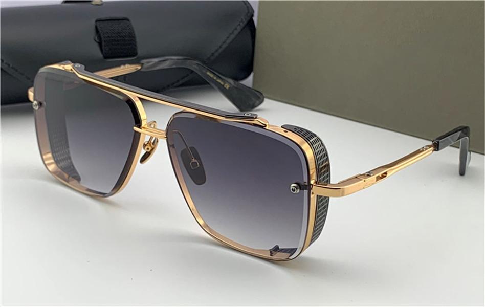 Солнцезащитные очки Pop Top Limited Edition Six Men Design K Gold Ретро квадратная рамка Кристалл режущий линз с сеткой сетки