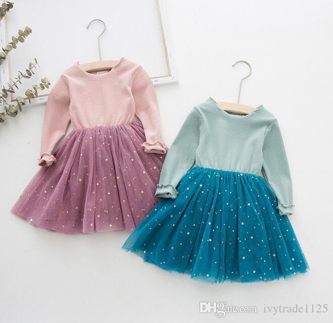 اعتصامات جديدة الفتيات ملابس اللباس لوليتا براق ليتل ستار شبكة المرقعة اللباس ربيع الخريف فتاة الملابس اللباس