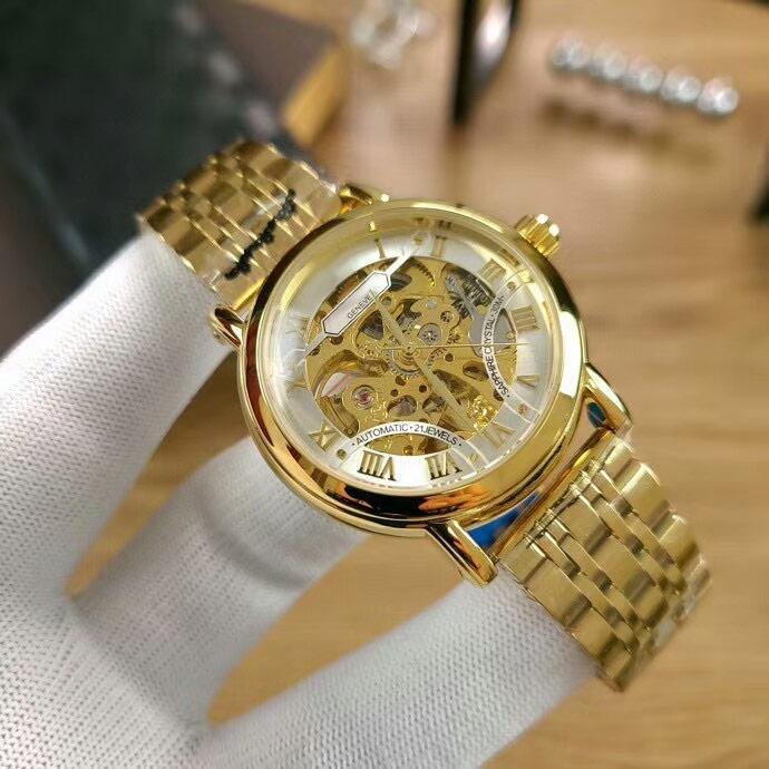 Hommes de mode montres en or mécanique automatique pleine inoxydable mouvement de montre de bande en acier pour le cadeau des hommes orologio di lusso