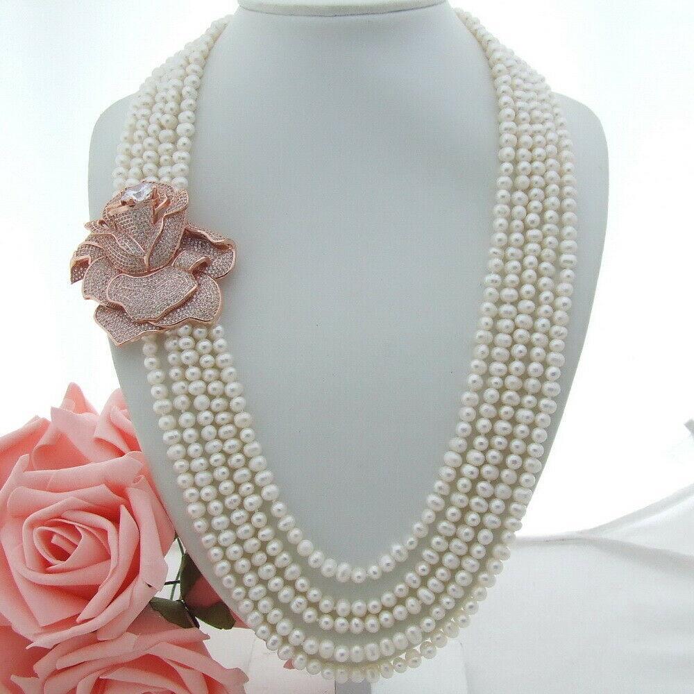 Charming 5 Strang Süßwasser-Aquakultur weiße Perlenkette Mikro Inlay Zirkon Schnalle Blumenzusätze Halskette lange 61-68 cm