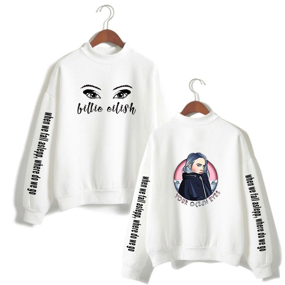 Billie Eilish Printed High Neck Hoodie Women/Men Long Sleeve turtleneck Sweatshirts Casual Trendy Streetwear Kawaii Pullover Tops