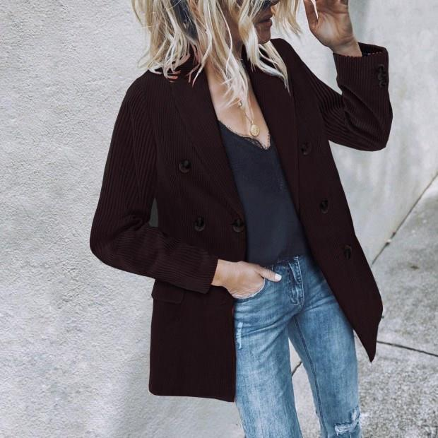Abiti da donna Blazers Office Solid Blazer Solid Blazer Vintage Corduroy Donne Business Giacca Cappotto Elegante Autunno Inverno Outwear