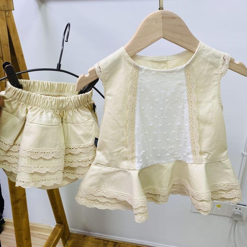 2020summer New Arrivals Spain Baby Girls Cotton Sweet Lace Sleeveless Shirt Shorts Set Boutique Kids Clothing 1-6years