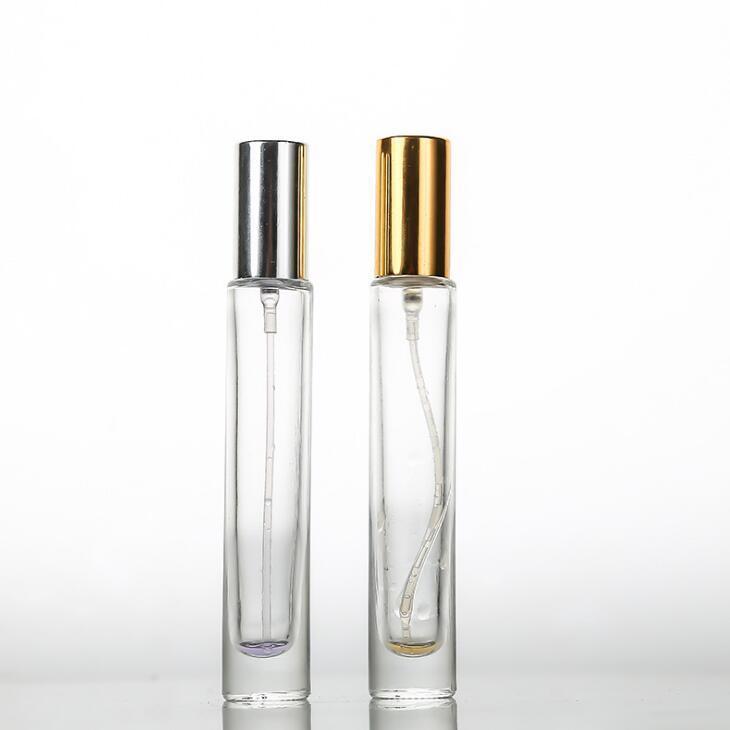 100pcs / lot Garrafas 10ML Perfume ClearThick vidro Frascos do pulverizador com alumínio Atomizador Esvaziar Caso Cosmetic para o curso Use LX2234