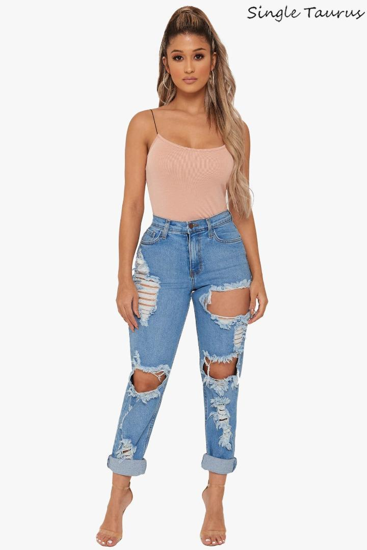 Boyfriend Jeans for Women High Waist Hole Hollow Out Ripped Denim Pants Fashion Streetwear Distressed Vaqueros Mujer 2019 Summer