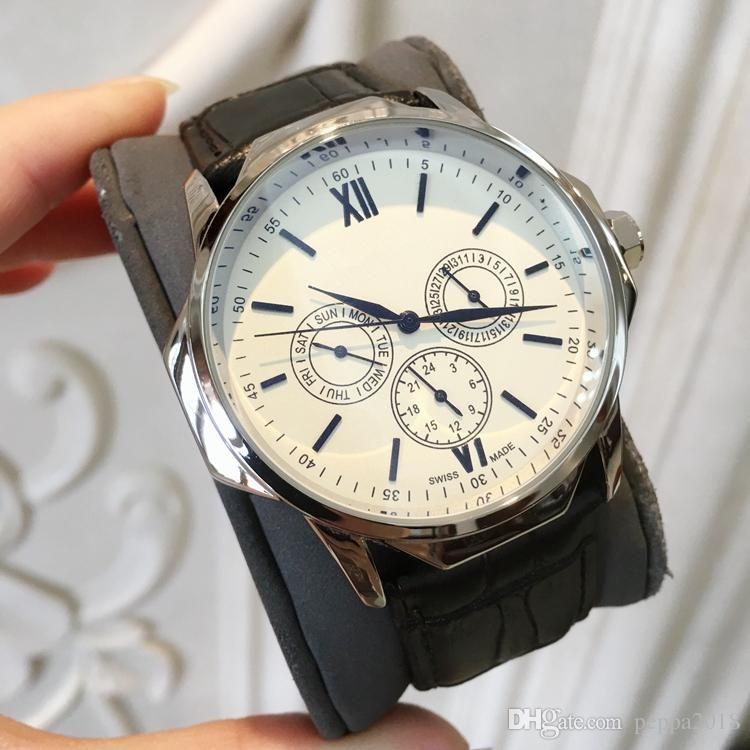 2019 nova Marca Top Homens Relógios Quartz Militar Relógios de couro de luxo Relógios de pulso Moda Casual Multifunction Relógios grande disque cor preta