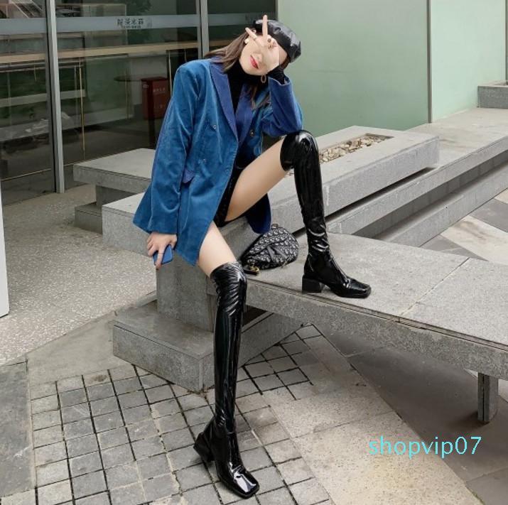 Pelle Ebullient2019 Will Modello Overknee piazza con la luce del brevetto forza elastica sottile del nero del manicotto calzini e stivali