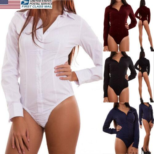 Sexy Mulheres Jumpsuit Stretchy Playsuit New Summer Long Sleeve Shirt Magro Macacão S-2XL
