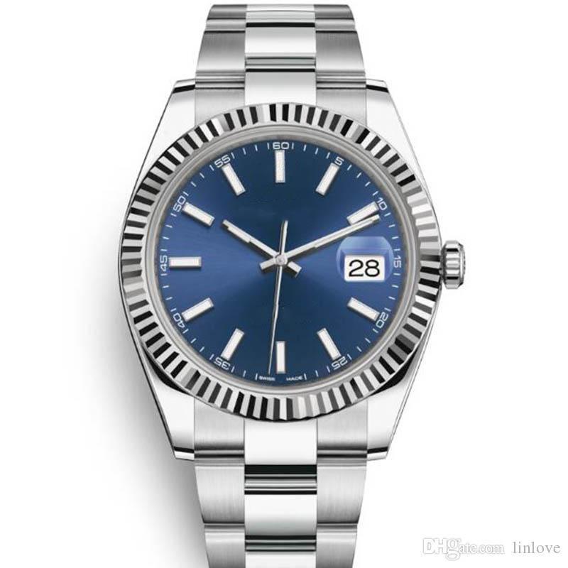 패션 남성 날짜 철강 돔형 베젤 114300 레이디 여성 자동 기계 운동 기계 망 손목 시계 시계 Orologio 시계