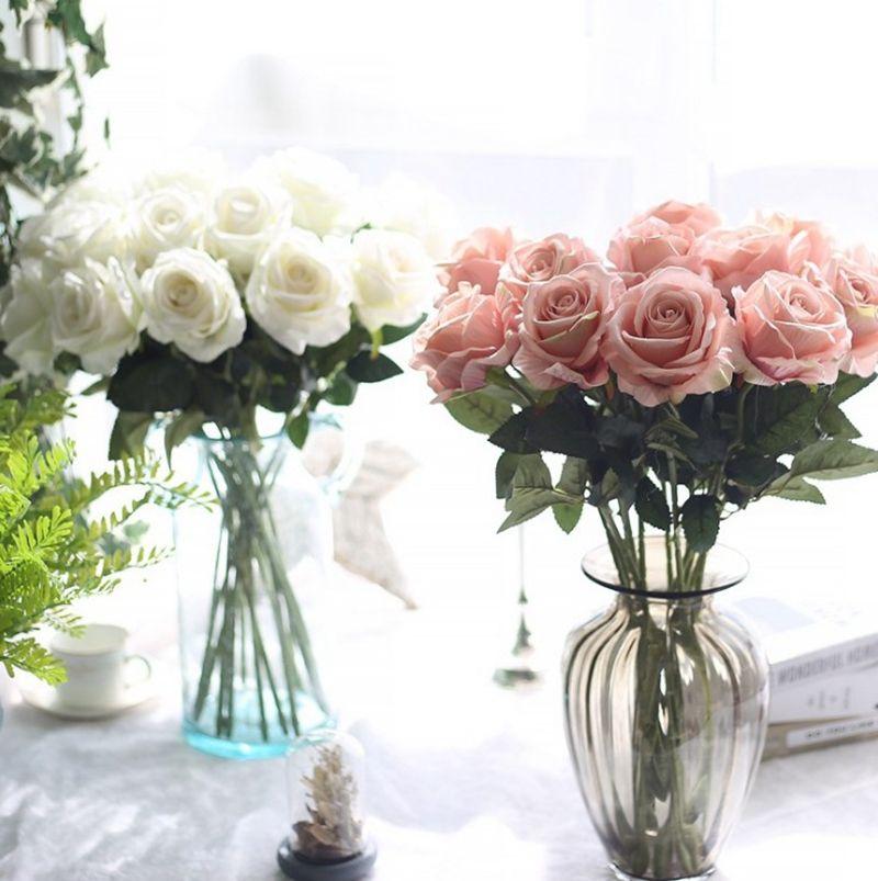 Flores de seda Artificial Rose Flor Real Touch Peônia Festa Decorativa Flores Falso Casamento Noiva Buquê Buquê Decoração de Natal 13 Cores Lqpyw1063