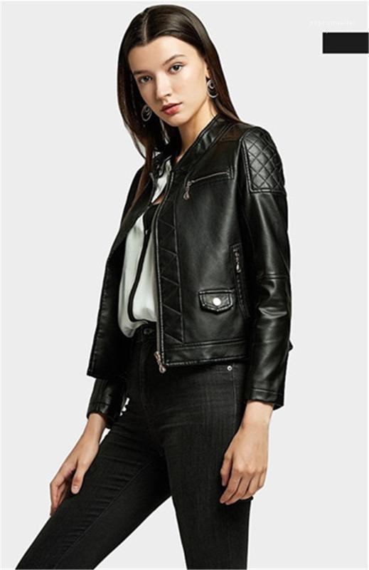 Outono Pu Curto Womens Casacos Casual Manga Longa Carrinho Senhoras Senhoras Outerwear com Zipper Skinny Faux Caux Jackets