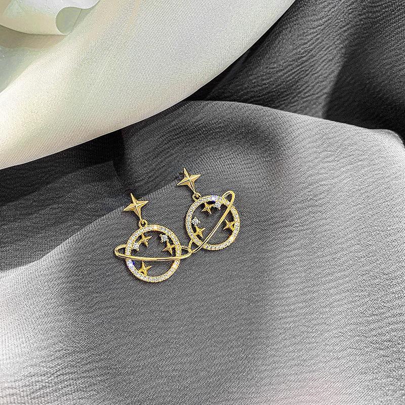 أقراط الذهب للنساء مجوهرات 2019 جولة ستار الخواتم السيدات الموضة العصرية فضية 925 دبابيس مجوهرات القرط