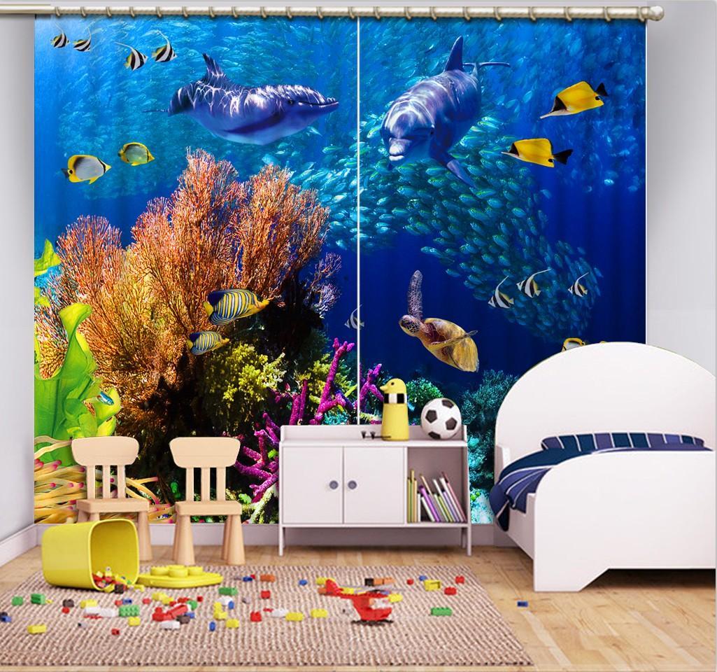 Costumbre manera 3D Cortinas opacas Submarino mundo animal cortina para el niño Habitación Sala Ventana sombreado