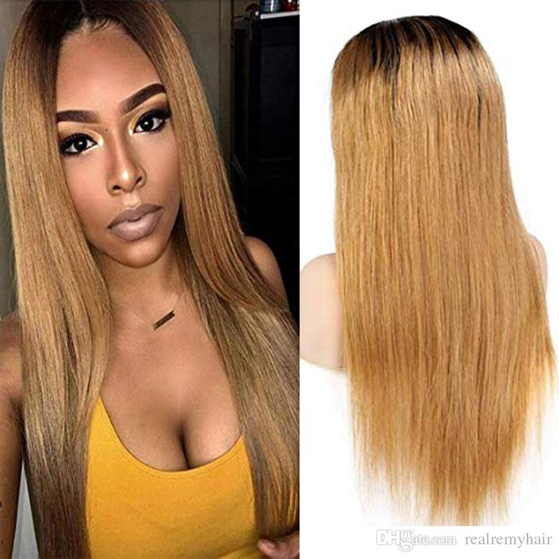 Brazilian Virgin Hair Ombre 1B/27 Lace Front Human Hair Wigs Silky Straight 150 Density Full Lace Wigs with Baby Hair for Women
