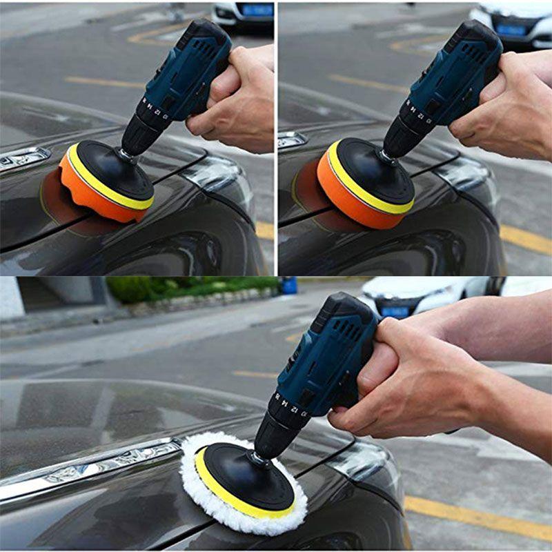"""7PCS 3"""" polissage éponge Pad 1/4"""" Adaptateur Drill Kit pour la voiture automatique Polisseuse Tampon"""