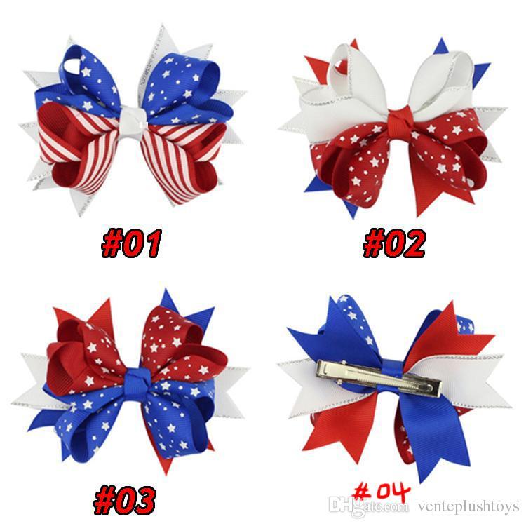 Drapeau américain imprimer Barrettes Bow pinces à cheveux 3 styles épingle à cheveux Swallowtail Hair arcs Clip enfants Accessoires de cheveux