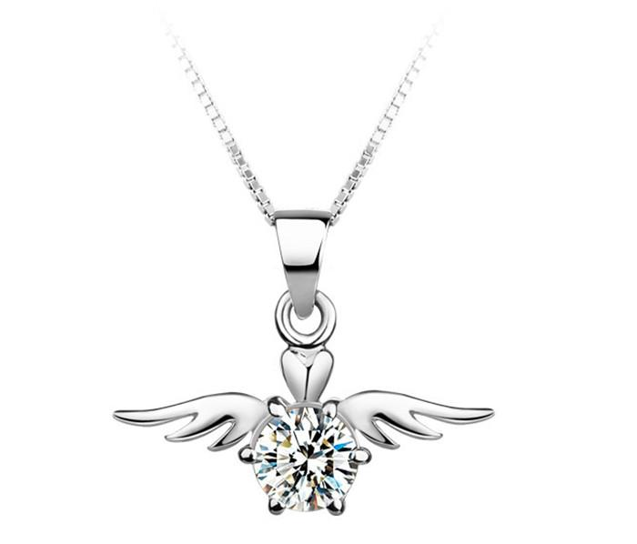 silver zircon necklace female short day Korean fashion accessories chain Angel Heart Pendant clavicle