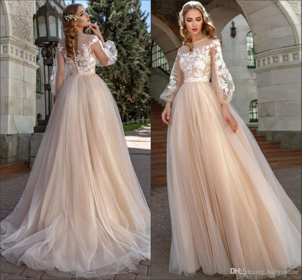 2020 fada verão champanhe vestidos de casamento longo poeta manga sheer neck a linha appliqued vestidos de noiva barato vestidos de novia