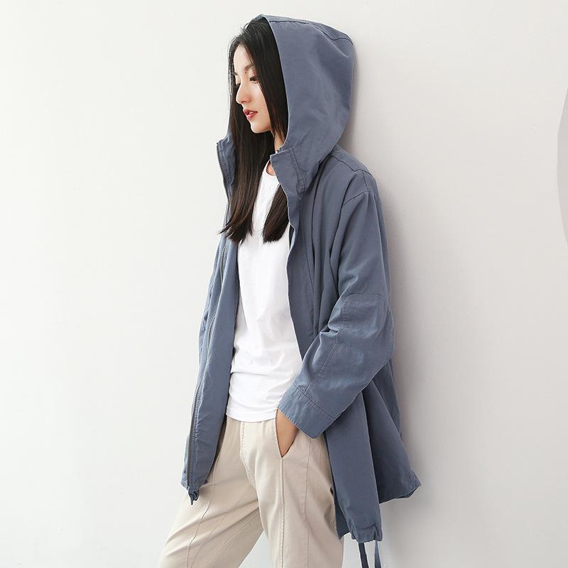 Nuovo Chic Trench Coat per le donne 2020 Primavera Autunno Donna Giacche a vento con cappuccio donna Abbigliamento Trench allentato soprabito Donne