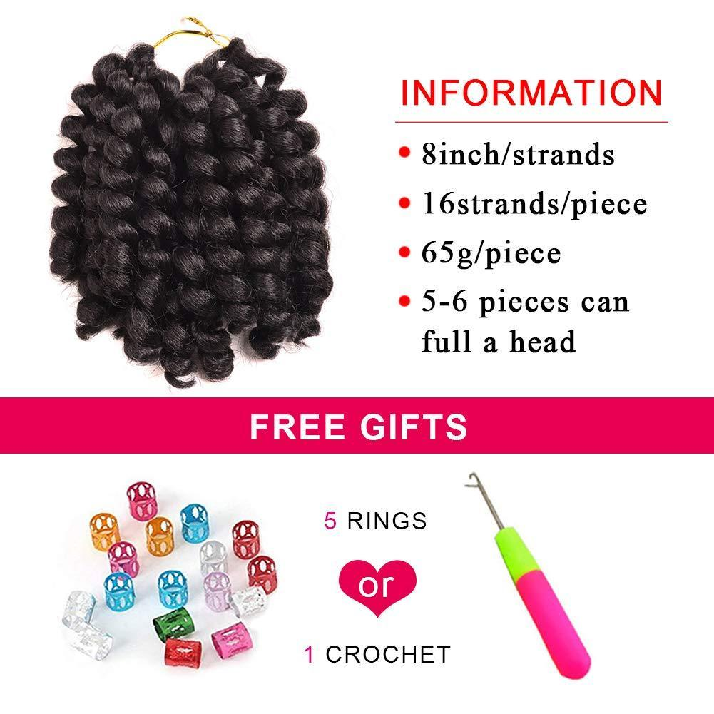 3 Packs Wand Curl Crochet Hair Synthetic Crochet Braids 8 Inch Jamaican Bounce Twist African Braiding Hair For Black Women (8&quot 3packs 1B