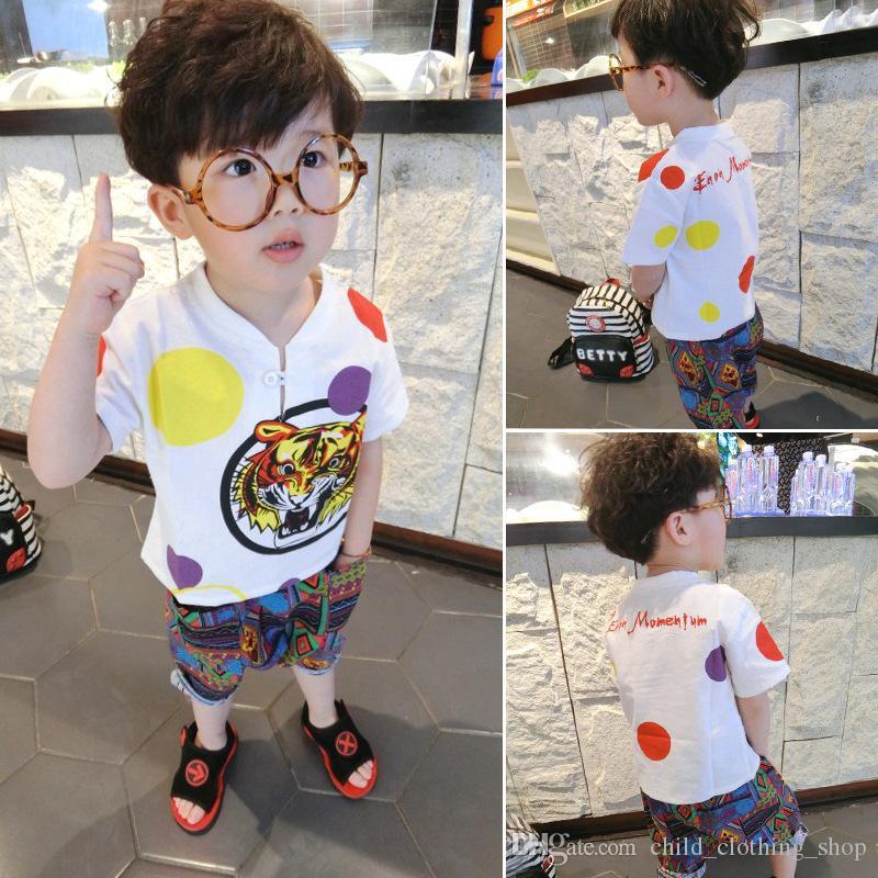 2020 new children's tiger head summer short-sleeved t-shirt set two-piece boy and girl children's cotton and hemp