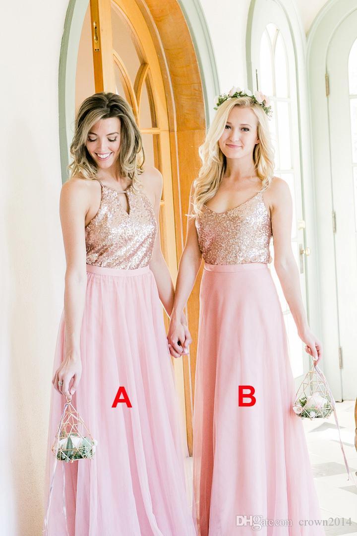 블러쉬 핑크 장식 조각 탑 긴 신부 들러리 드레스 얇은 스커트 섹시한 스파게티 스트랩 저렴한 사용자 정의 만든 플러스 사이즈 공식 웨딩 게스트 드레스 2021