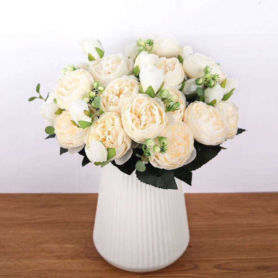 Ramo de peonía de flores artificiales para decoración de bodas 5 cabezas peonías flores falsas decoración del hogar seda rosa novia sosteniendo flores 8 colores
