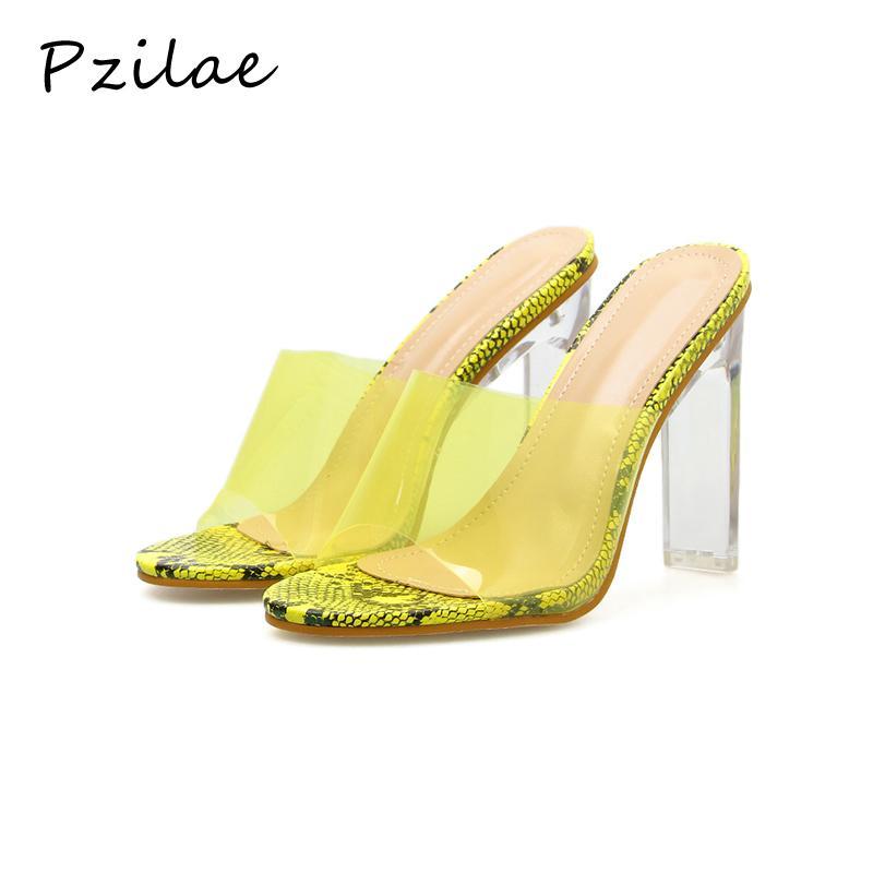 Pzilae nuovo donne di estate pistoni cristallo tallone pattini trasparenti PVC gelatina signore sexy talloni chiare diapositive pompa i pattini taglia 40