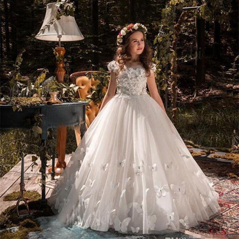 2020 Hot Pretty White Lace Flower Girl Dresses With Belt Tired Tulle Floor Length Girls Ball Gown First Communion Dress Custom