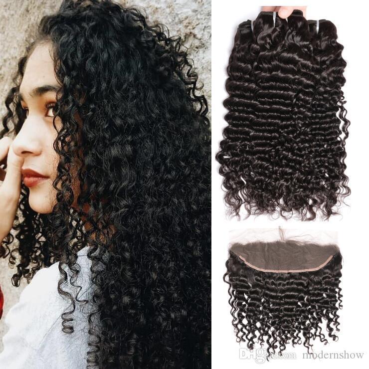 Brasileña virginal peruana rizada ola humana paquetes de pelo con el cordón frontal profundas indias rizadas de Mongolia Wave cabello humano teje