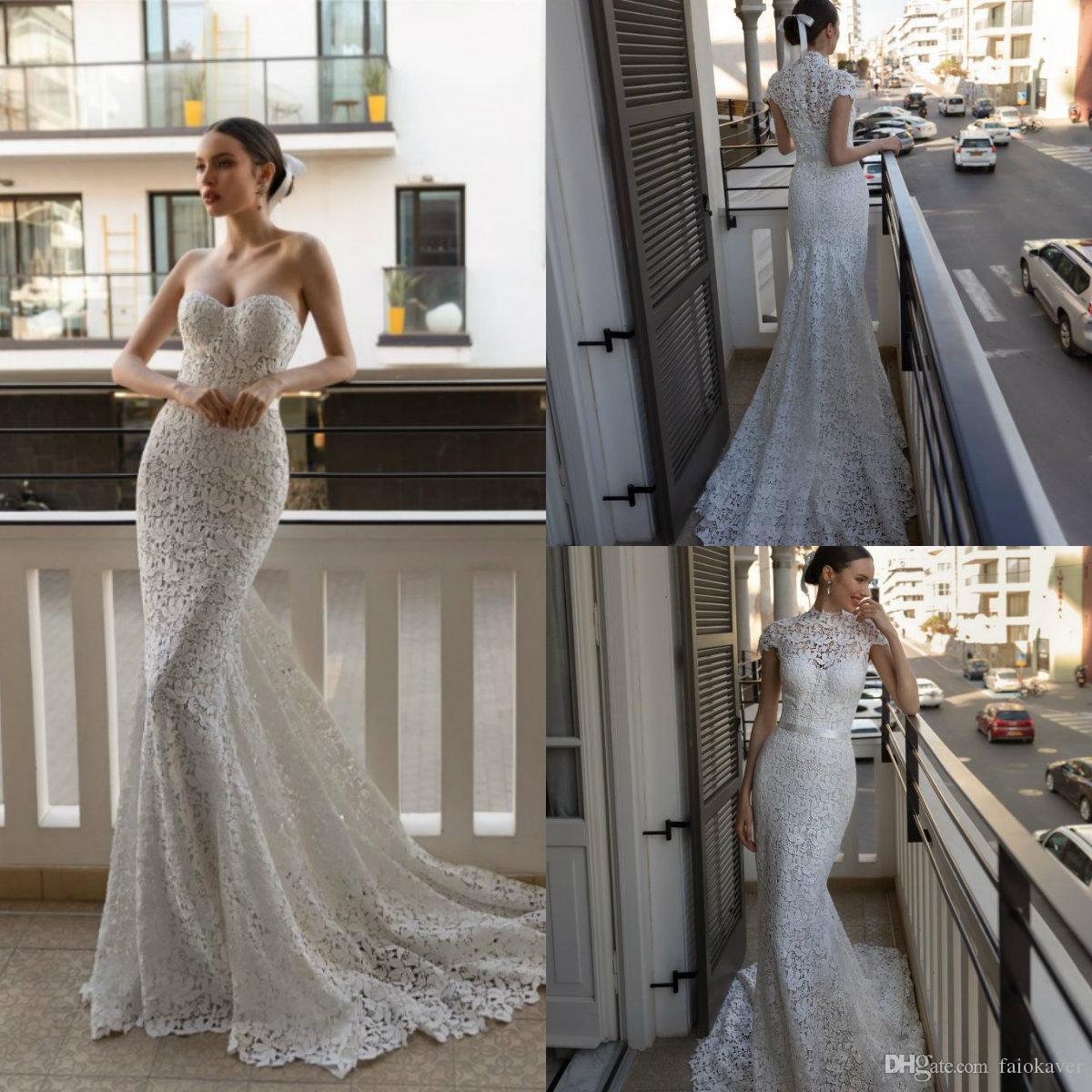 2020 Julie Vino Mermaid Brautkleider mit kurzen Jacke Schatz Sweep Zug Spitze Appliqued Bohemian Brautkleid nach Maß Kleider
