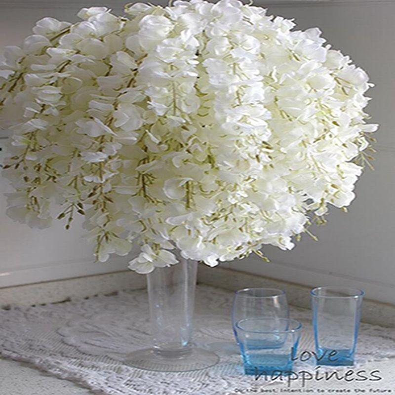Flor de seda DIY Artificial Branco Wisteria Para Jardim Casamento Casa Partido Decoração Floral Sala Centerpieces Dia dos Namorados Tabela Decor