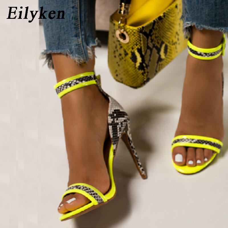 Eilyken New Design Snake Print Leather Open Toe Sexy Sandals Ladies Summer Fashion Ankle Buckle Strap High Heel Shoes Womens