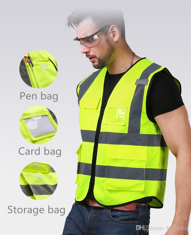 DHL Free shipping Motorcycle Cycling Sports Outdoor Safety Clothing multi pockets workwear safety High Visibility Reflective Vest Working